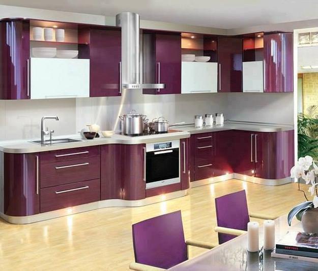Tủ bếp gỗ tự nhiên sơn tím